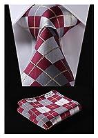 HISDERN Plaid Tie Handkerchief Woven Classic Men's Necktie & Pocket Square Set