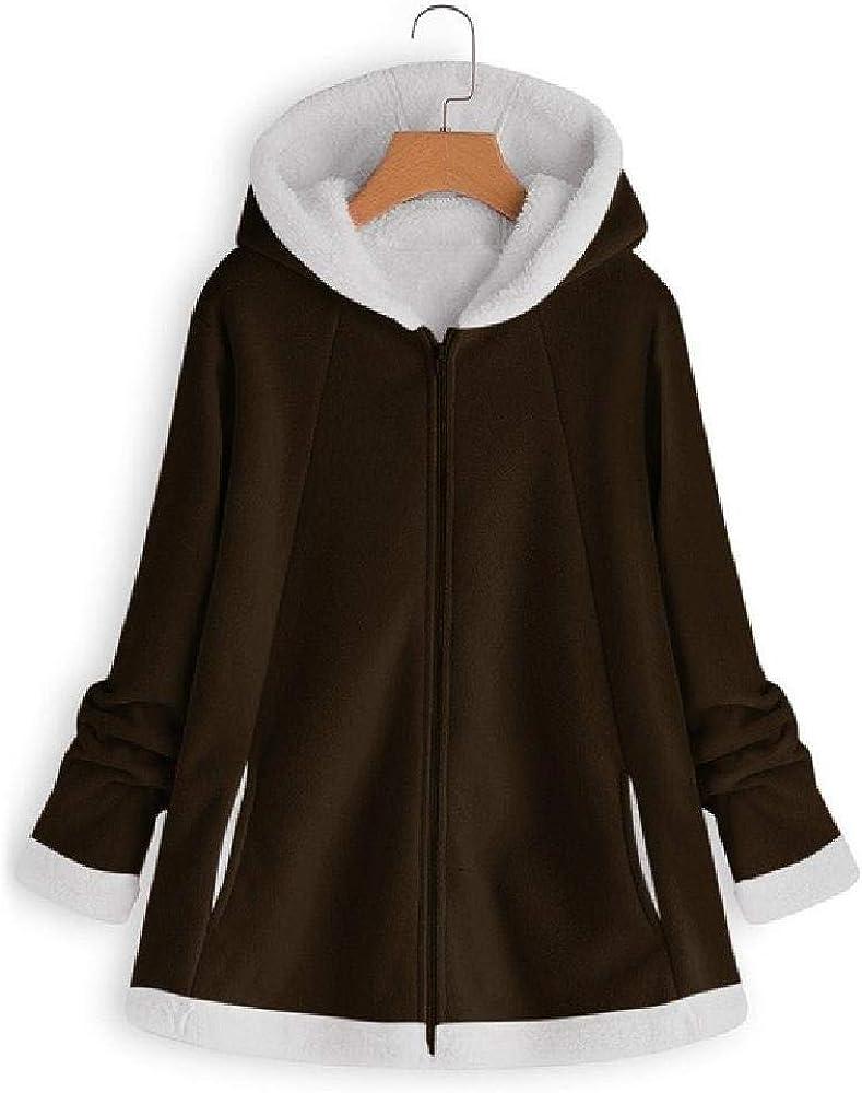 Abrigo de Mujer en Forro Polar sólido y cálido - Moda - Bolsillos - Cremallera con Ropa de Manga Larga más Talla 5XL
