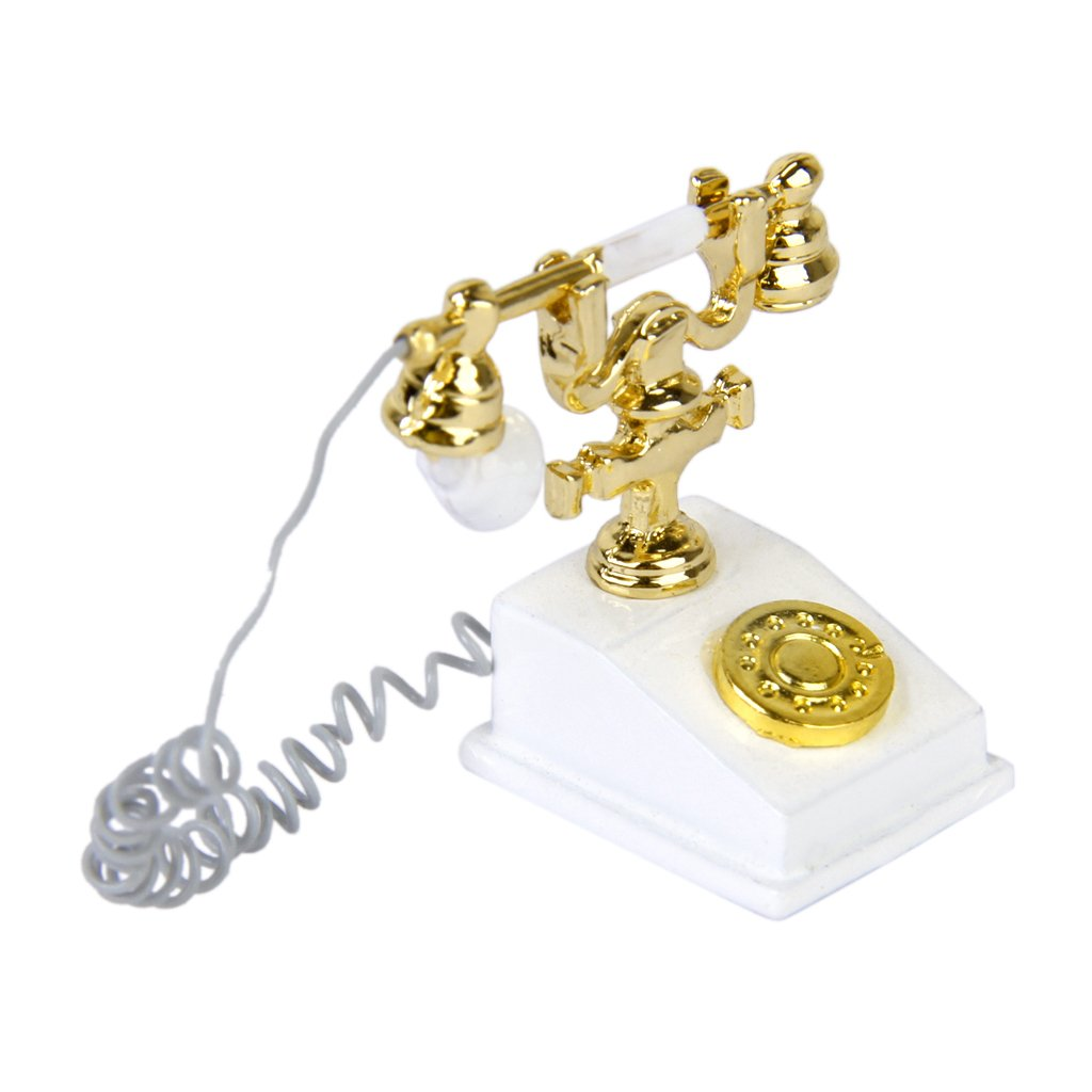 1/12 Doll House Furniture Miniature Retro Phone Vintage Telephone---White and Gold L-FENG-UK