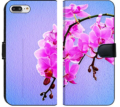 (Apple iPhone 8 Plus Flip Fabric Wallet Case Image ID: 32648713 Pink Orchid Flowers on a Pastel Background)