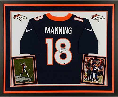 Peyton Manning Denver Broncos Deluxe Framed Autographed Navy Blue Nike Elite Jersey - Fanatics Authentic Certified