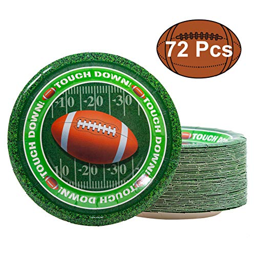 JOYIN 72 Pieces Touchdown Football Paper Plates Football Game Day Party Accessory Supplies (7 Inches -