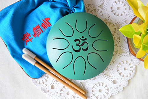 WuYou ॐ Symbol Chakra Drum Mini Tongue Drum Tank Handpan UFO series, Great for Meolodies Theropy (Green) by WUYOU