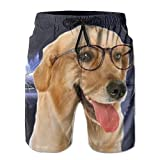 Y&J Mens' Wearing Glasses Of The Dog Cool Summer Beach Shorts Swimming Trunks Cargo Shorts For Men