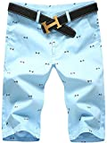 Men's Chino Cotton Floral Mid Rise Swim Trunks Bermuda Beach Shorts Light Blue US 32 / Tag 33