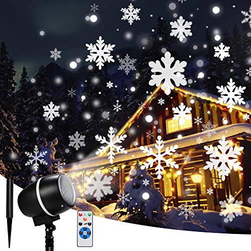 Christmas Snowflake Projector Lights with Remote Control Rotating Snowflake LED Christmas Lights, Waterproof Projector Decorating Stage Light Outdoor Snowfall Holiday Party Garden Landscape Lights