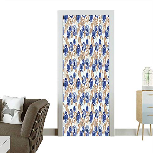Homesonne Modern Art Door Sticker Modern Contemporary Design with Leaves Floral Buds Image Artwork Purple Grey and Redwood Environmentally Friendly decorationW23 x H70 INCH