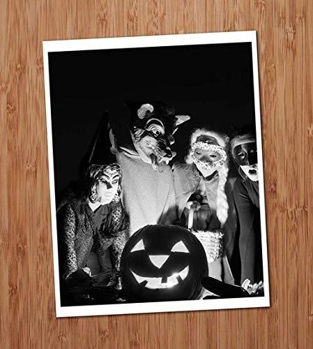 Kids Adults in Costumes Masks Group Photo Vintage Art Print 8x10 Wall Art Halloween Decor -