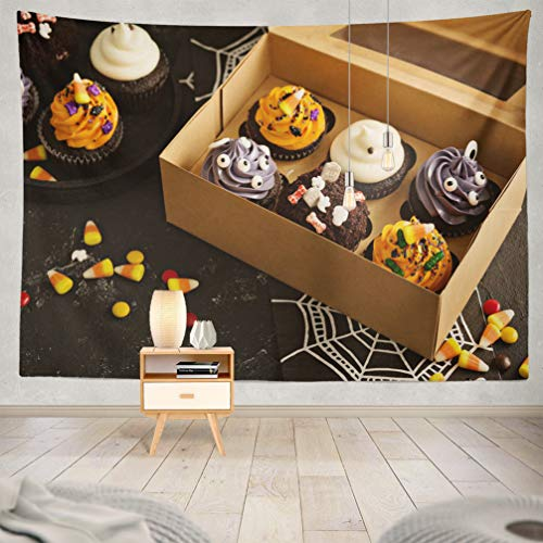 KJONG Halloween-Pumpkin Decorative Tapestry,Festive Halloween and Treats with