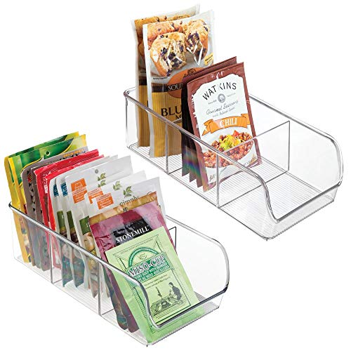 mDesign Plastic Food Packet Kitchen Storage Organizer Bin Caddy - Holds Spice Pouches, Dressing Mixes, Hot Chocolate, Tea, Sugar Packets in Pantry, Cabinets or Countertop - 2 Pack - Clear ()
