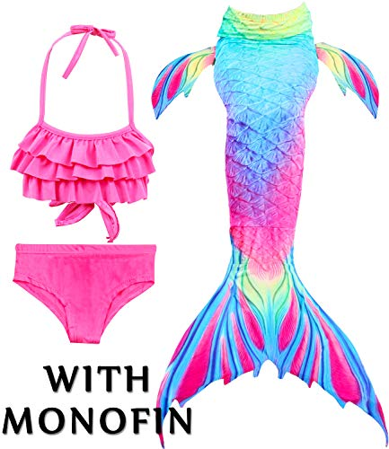 Girls 4 Pcs Swimsuits Mermaid Tails for