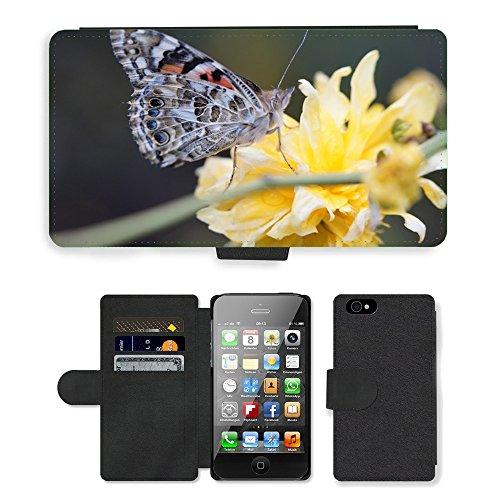 Just Phone Cases PU Leather Flip Custodia Protettiva Case Cover per // M00127411 Papillon Painted Lady Fermer Fleur // Apple iPhone 4 4S 4G