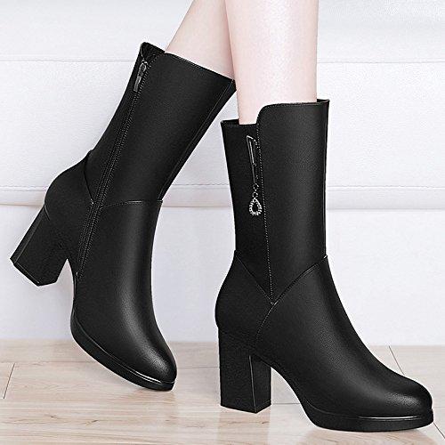 HOESCZS Frauen Schuhe Runde Kopf Seitlichem Reißverschluss Damen Stiefel Platz Platz Stiefel Mit Volltonfarbe Stiefel Wasserdicht Plattform Frauen Schuhe dc835e