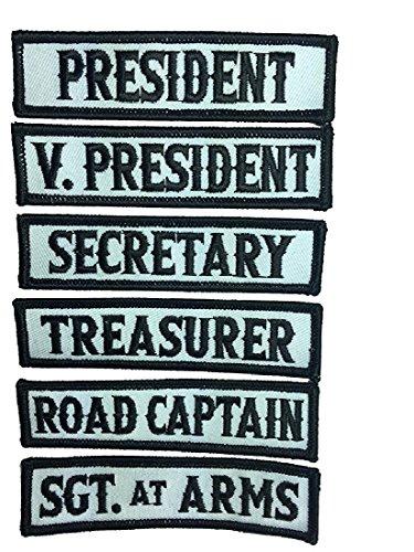 - Officer Title Rank Vest Patches President VP MC Biker club Patch Set (6pc-Iron On)