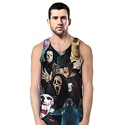 Delcoce Men's 3D Digital Print Vest Sleeveless Causal Stretch T Shirts Tops