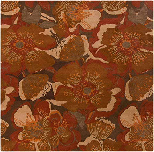 Surya Athena ATH-5102 Hand Tufted Wool Square Floral and Paisley Area Rug, 6-Feet