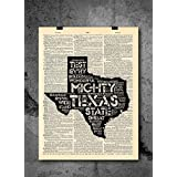 Texas State - Texas Anthem - Inspirational Quote Art - Vintage Dictionary Print 8x10 inch Home Vintage Art Abstract Prints Wall Art for Home Decor Wall Decorations Ready-to-Frame
