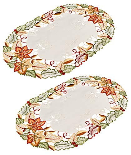 Linens, Art and Things Embroidered Fall Maple Leaf Place Mats Doilies 14 x 21 Inches Set of 2