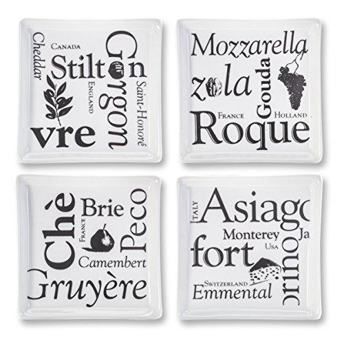 ir Faire Square Appetizer Plates, Set of 4, White ()