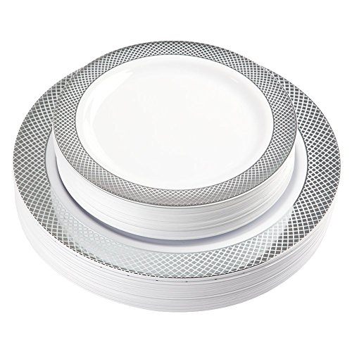 Buffet Dinner Plate - 60 Pack Disposable Plastic Plates, Silver Plastic Plates for Party Wedding Includes: 30 Dinner Plates 10.25 Inch and 30 Salad / Dessert Plates 7.5 Inch, White with Diamond Rim( IOOOOO)