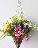 Lopkey Lifelike Artificial Daisy Flowers Outdoor Silk Daisy Indoor Patio Lawn Garden Mini Hanging Basket with Chain Flowerpot