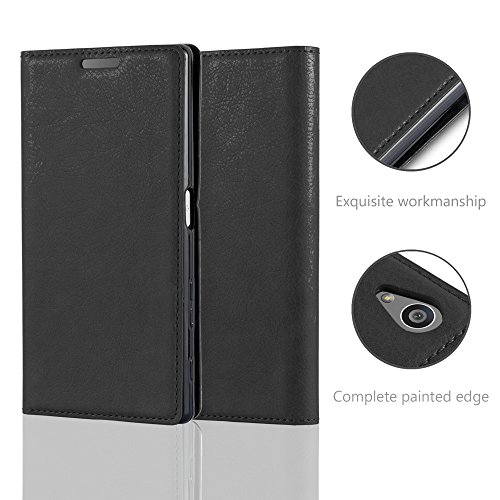 Cadorabo - Funda Book Style Cuero Sintético en Diseño Libro Sony Xperia Z5 - Etui Case Cover Carcasa Caja Protección con Imán Invisible en NEGRO-ANTRACITA NEGRO-ANTRACITA