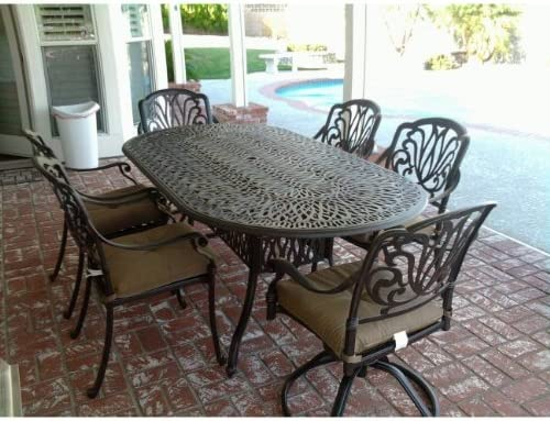 Theworldofpatio Elizabeth Cast Aluminum Powder Coated 7pc Outdoor Patio Dining Set