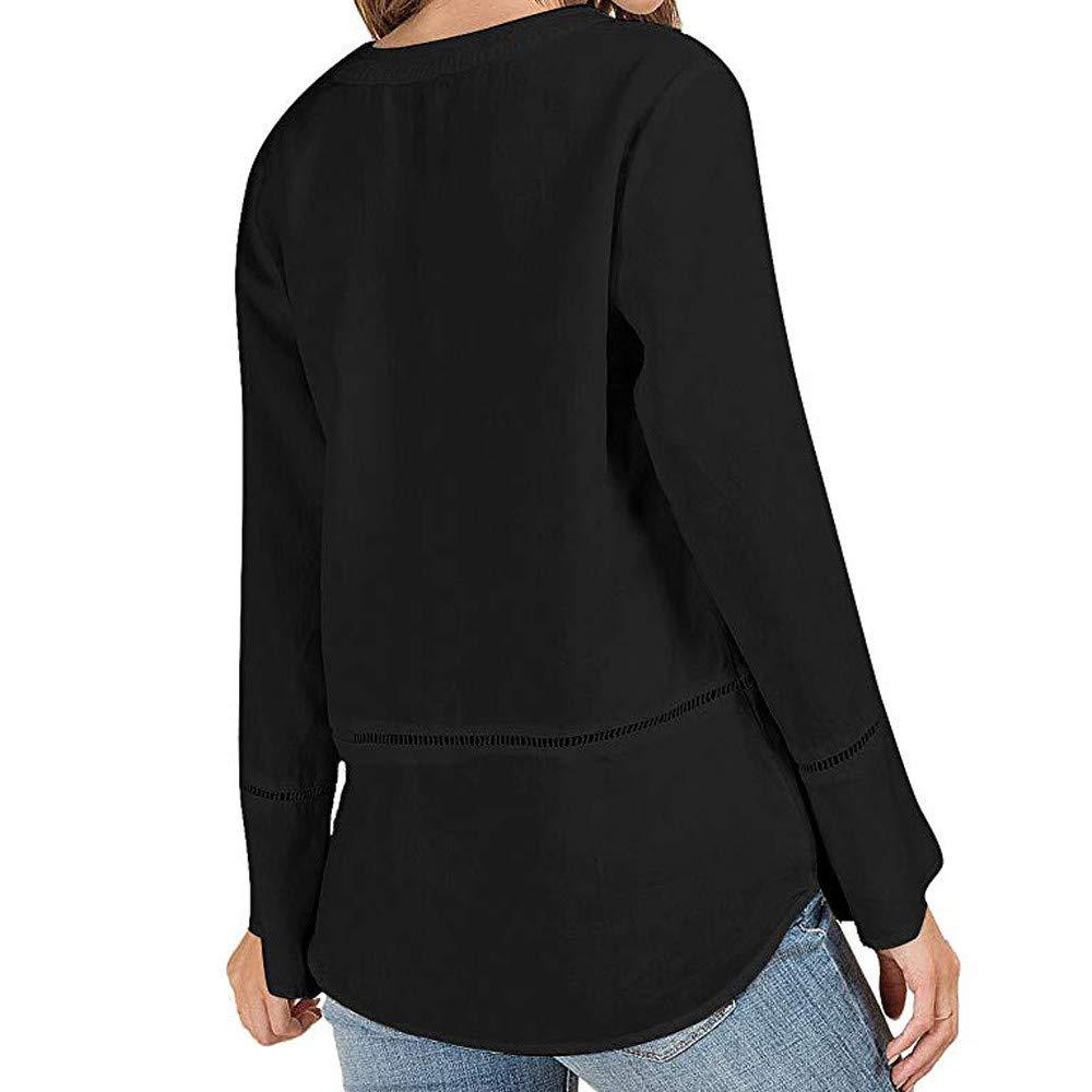 Yvelands Camisas para Mujeres, Blusa Casual de Manga Larga con Cuello en V para Mujer de Llamarada Flamenca.: Amazon.es: Ropa y accesorios