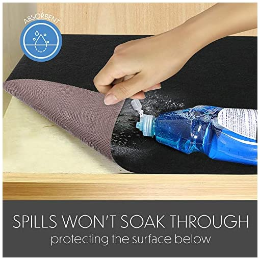 """Kitchen LotFancy Under Sink Mat for Kitchen, 28"""" x 24"""", with Absorbent Fabric and Anti-slip Waterproof Backing, Washable Under… under-sink organizers"""