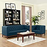 Modern Contemporary Urban Design Living Lounge Room Sofa Set ( Set of Two), Navy Blue, Fabric