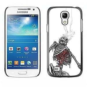 GOODTHINGS (NO PARA S4) Funda Imagen Diseño Carcasa Tapa Trasera Negro Cover Skin Case para Samsung Galaxy S4 Mini i9190 - esqueleto fumar cráneo blanco negro