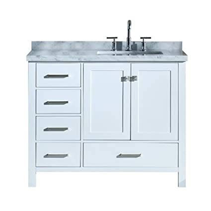dkb 43 inch beckford series right offset rectangular single sink rh amazon com 43 inch bathroom vanity top 43 inch bathroom vanity lowes