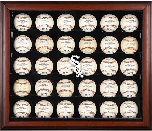 (Chicago White Sox Logo Mahogany Framed 30-Ball Display Case )