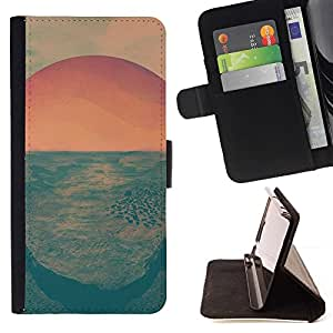 Momo Phone Case / Flip Funda de Cuero Case Cover - Salida del sol psicodélica;;;;;;;; - Huawei Ascend P8 Lite (Not for Normal P8)
