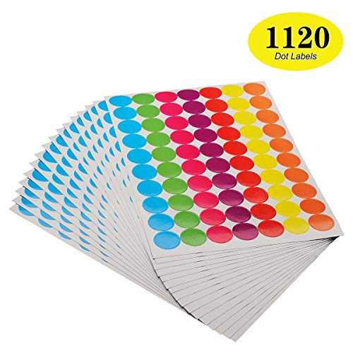 ONUPGO Pack of 1120 1 Inch Round Dot Stickers Diameter Round Color Coding Circle Dot Labels Sticker, Bright Color-Coding Labels (Assorted Colors) -