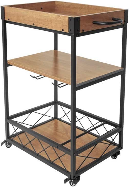 AZ L1 Life Concept Accent Utility Austin Microwave Oven Cooking Utensils Spices, Pots and Pans Rustic Industrial Style Kitchen Cart with Shelves and Lockable Casters, 30.50 inches, Light Oak and Black