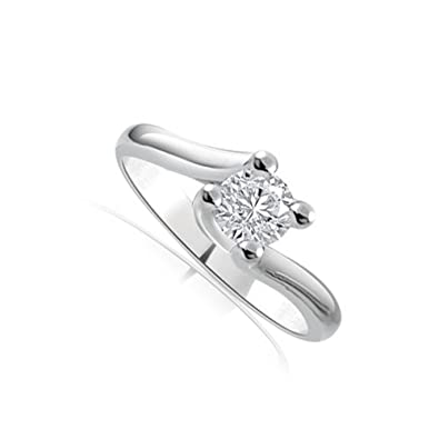 gamme complète de spécifications regarder obtenir de nouveaux Anello di fidanzamento Solitario donna oro bianco 18 carati diamante  naturale taglio brillante 0.20ct - colore G e purezza SI1 - INFINITY OF  LONDON ...
