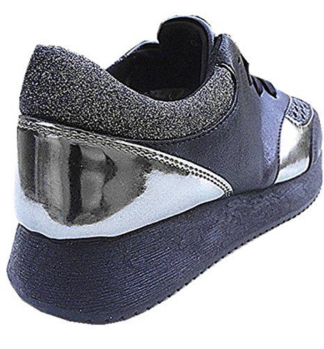 Bi Scarpe materiale Donna Trapuntato 109 G Sport Ragazza Basket Fashionfolie Compensate Nero Bassa Sportivo Brillante qwtnIXtRg