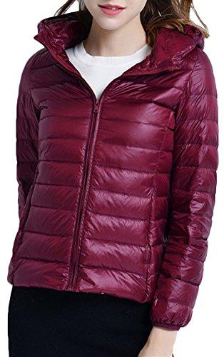 Donna Cappuccio Parka Borgogna Cappotto per Del Invernale Rivestimento Del Mochoose Leggero con Piumino Giacche Zipper Ultra Classico CctqZx