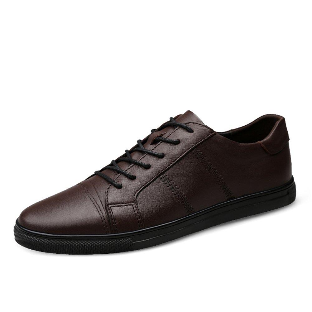 XUE Herrenschuhe Leder Frühling Herbst Fahren Schuhe Comfort Turnschuhe Lace-up für Casual Leicht Outdoor Sportlich Schwarz, Braun