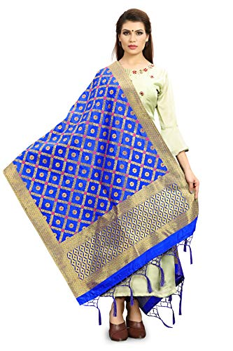 ELINA FASHION Women's Zari Work Indian Pakistani Banarasi Art Silk Woven Only Dupatta for Dress Material & Salwar Suit Blue (Salwar Suit Blue)