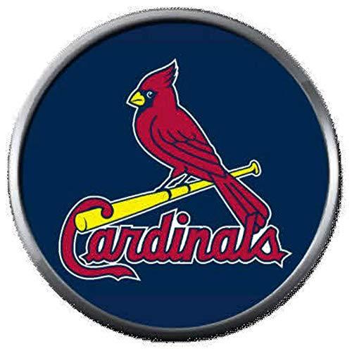 (MLB St Louis Cardinals Baseball Logo On Blue 18MM - 20MM Snap Jewelry Charm)