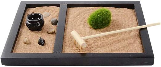 VOSAREA Escritorio Zen Set Jardín de Arena con Rastrillos de Arena Musgo Y Piedras para Oficina Hogar Regalo Negro: Amazon.es: Hogar