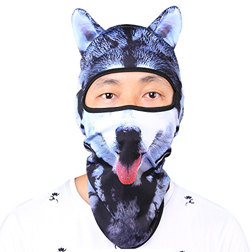 Oumers Animal Balaclava Face Mask with Ears Breathable Hood Face Shield for Outdoor Sports Cycling Motorcycle Ski Halloween Party Gift, One Size Fit Most (Women/ Men)---Husky - Shield Husky