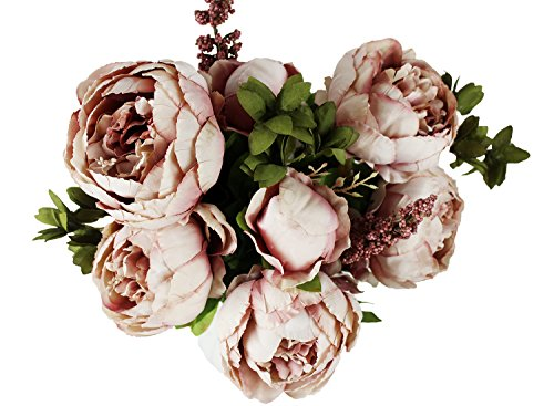 Brown Peony - Homeditor Artificial Peony Flowers,Real Touch Silk Peony Flowers for Home Office Parties Wedding and Bridal Bouquet 1 bunch with 13 Stems (Cameo Brown)