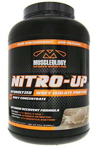 Muscleology Sports Nutrition Nitro-Up Hydrolyzed Whey Isolate Protein, Vanilla, Infused with BCAAs, EAAs, and Digestive Enzymes 5 lbs