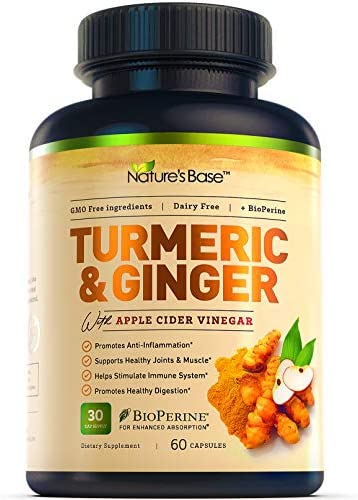 Nature s Base Turmeric Curcumin with Ginger, 95 Curcuminoids, Apple Cider Vinegar, Tumeric Supplements, Occasional Joint Pain Relief, Inflammatory Response,Natural Plant Based Anti-Oxidant Properties