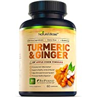 Nature's Base Turmeric Curcumin with Ginger, 95% Curcuminoids, Apple Cider Vinegar, Tumeric Supplements, Occasional Joint Relief, Inflammatory Response,Natural Plant Based Anti-Oxidant Properties