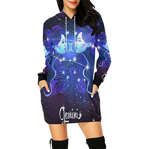 Constellation Zodiac Sign Gemini Women's Pullover Hoodie Sweatshirt Dress