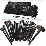 Grand Offer For Black Color 32 pcs OZ Cosmetic Makeup brush set Make Up Brushes Goat Hair Leather Case Kit (awdsales)